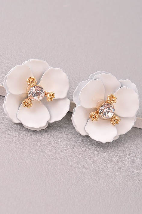 Sparkly White Camellia Earrings