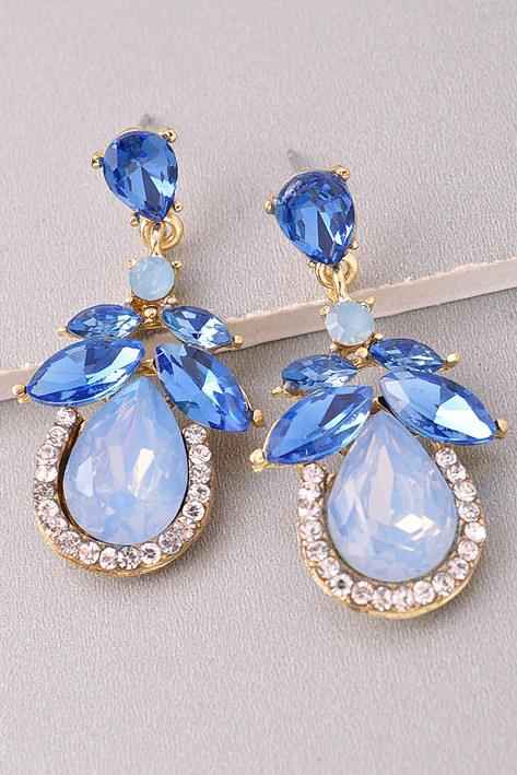 Blue Drop Sparkly Earrings