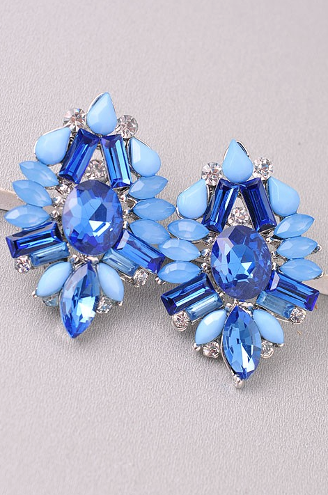 Blue Crystal Elegant Earrings