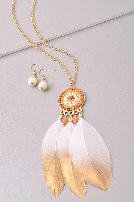 Gold Tribal Feather Necklace