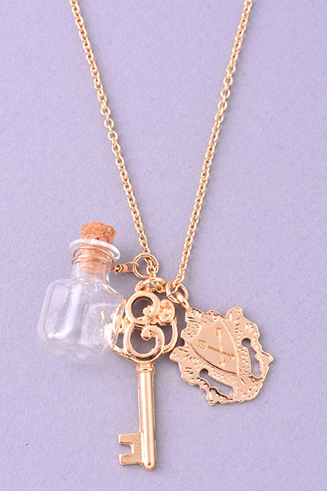Gold Multi Pendants Necklace