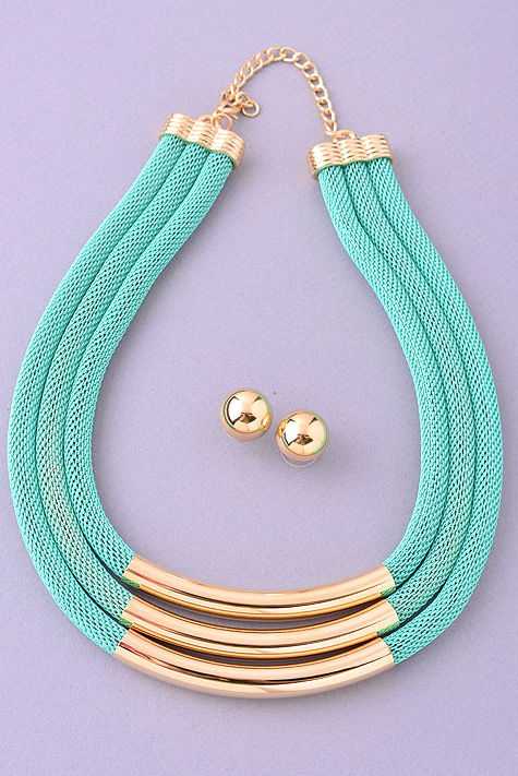 Multi Gold Mint Chain with Earrings