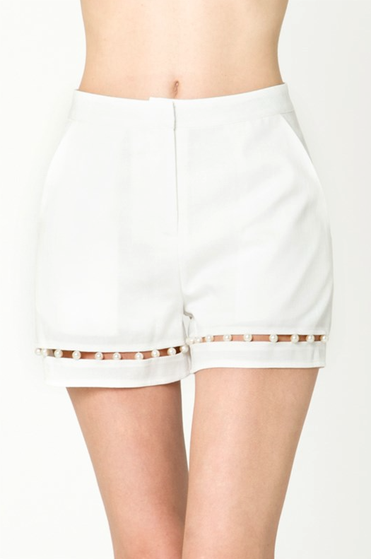 Tailor High Waisted Pearl White Short