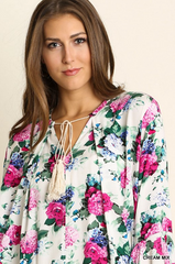 Floral Shirt Tunique Dress with Bell Sleeved