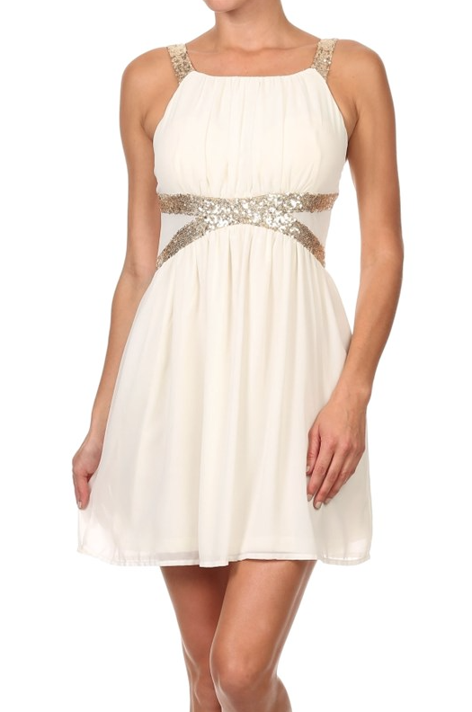 White Sequence Elegant Cocktail Dress