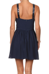 Navy Sequence Elegant Cocktail Dress