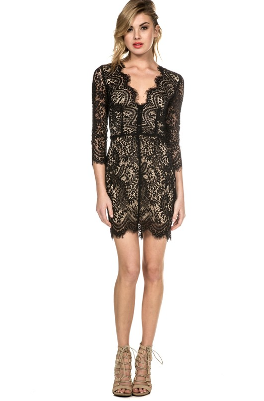 Elegant Black Lace Dress Short Sleeve