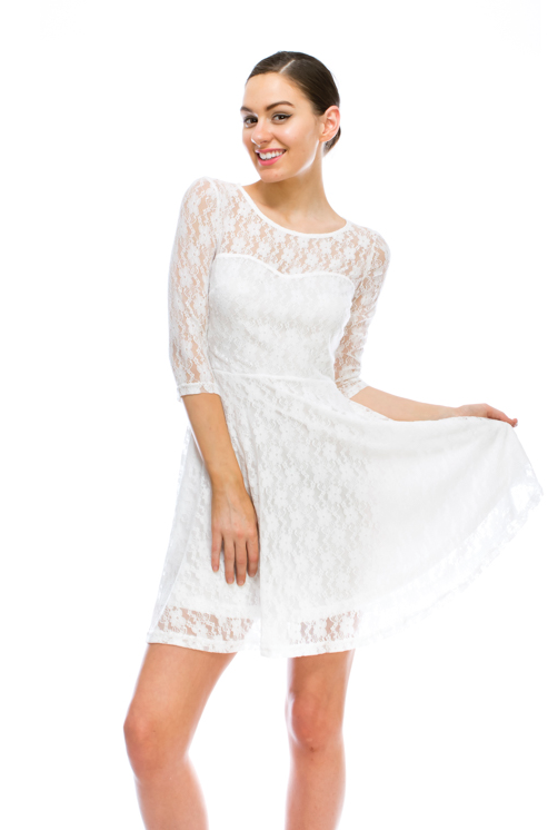Flare Delicate White Lace Dress
