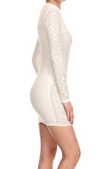 Bodycon White Dress with Gold Studded