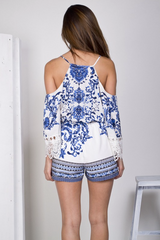 Cut Out Shoulder Blue Lace Romper