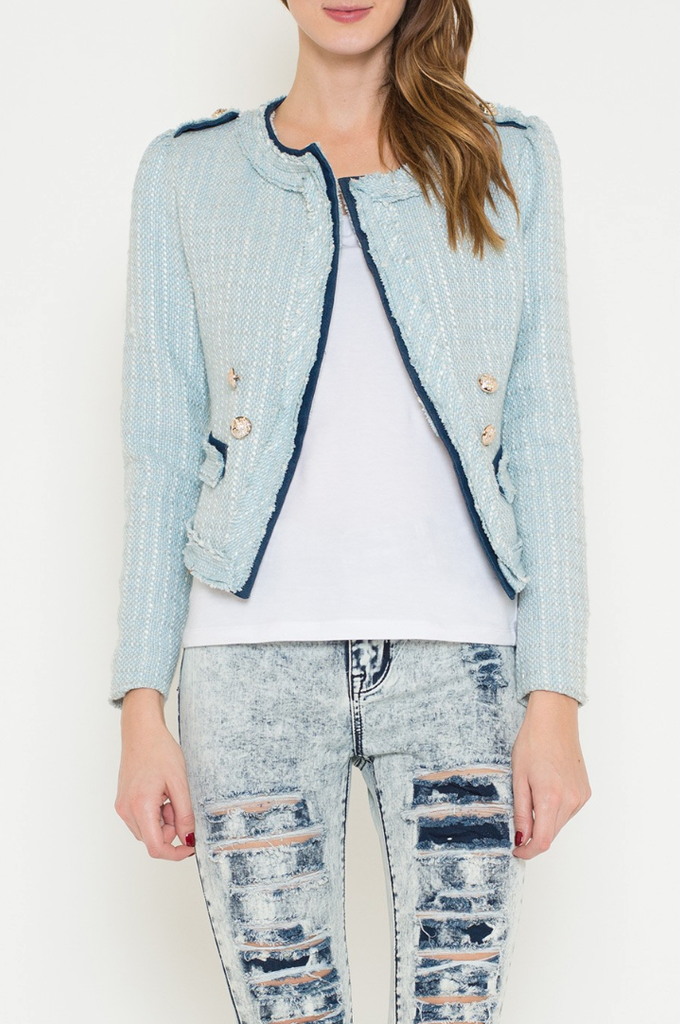 Elegant Fitted Blue Textured Detail Jacket