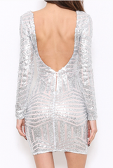Elegant Open Back Silver Sequence Dress