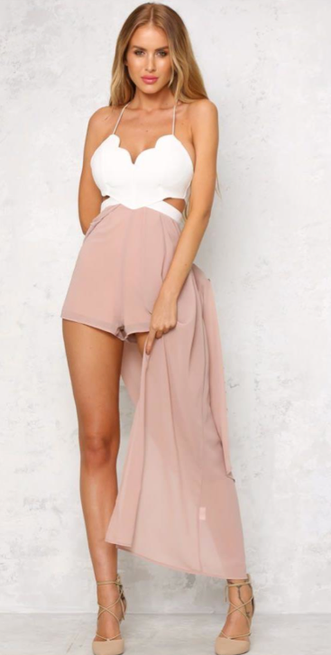Elegant White Strap Cut Out Beige Maxi Romper
