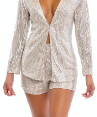 Fashion Nude Silver Sequence Shorts