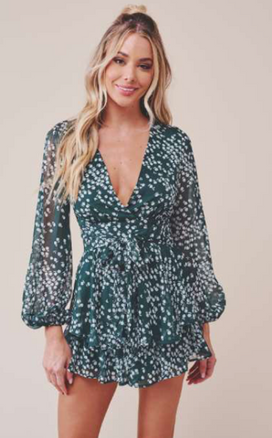 Fashion Forest Green Floral Print Ruffle Tie-Up Romper with Bell Sleeve
