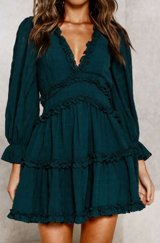 Fashion Forest Green Detailed Print V-Neck Ruffle Dress