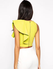 Shoulder Ruffle Elegant Crop Top