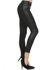 Skinny Pants with Leather trim
