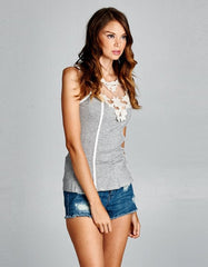 Sleeveless Tank Top Grey With Crochet Neckline