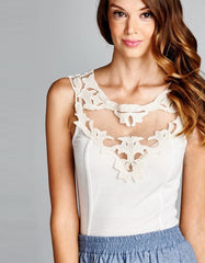 Sleeveless Tank Top White With Crochet Neckline
