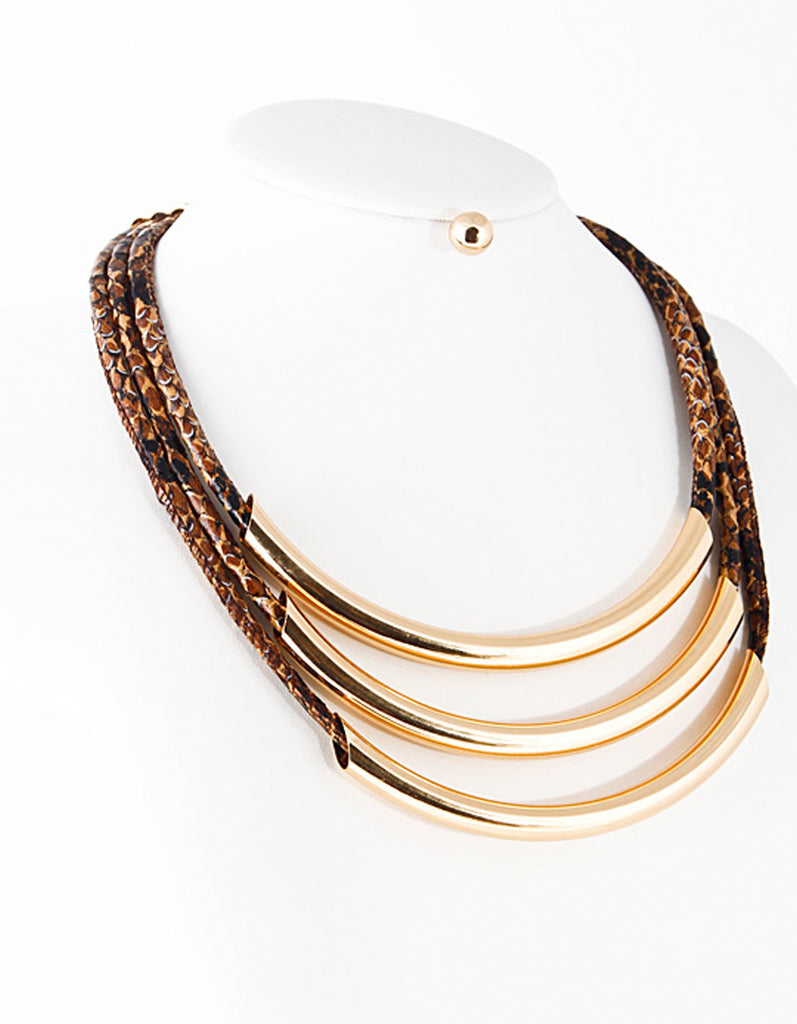 Snake Skin Textured Gold Necklace