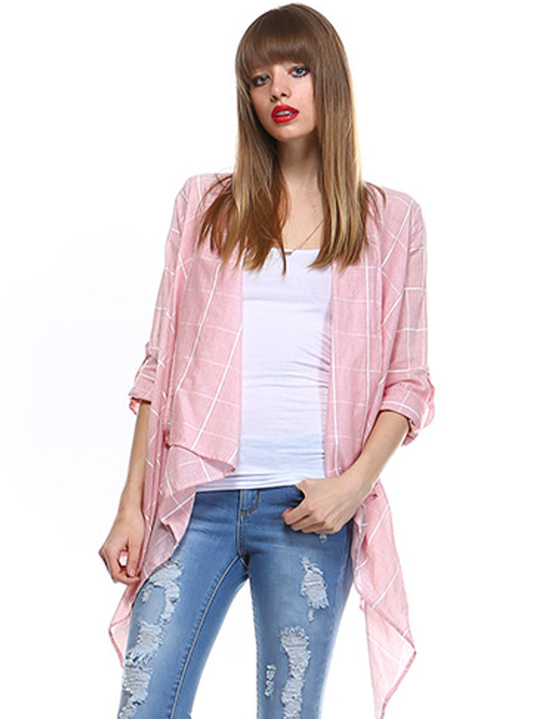 Soft Pink Roll Up Sleeves Checkered Cardigan