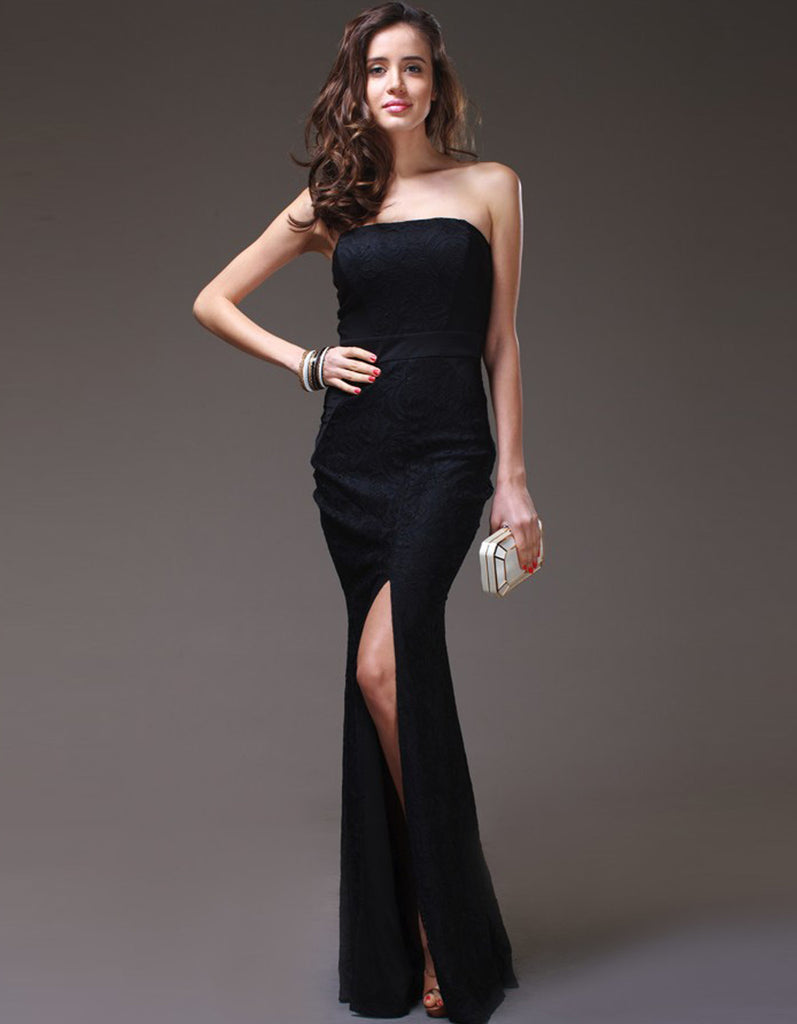 Strapless Black Lace Gown with Middle Slit