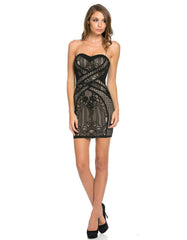Strapless Bodycon Lace Dress