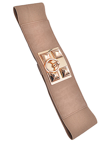 Stud Ring Elastic Beige Belt