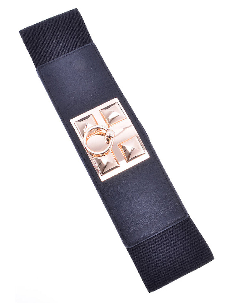 Stud Ring Elastic Black Belt