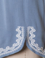 Summer Blue Sleeveless Romper with White Embroidery