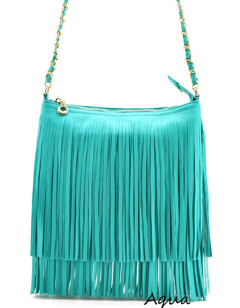 Summer Fringe Mini Handbag Aqua
