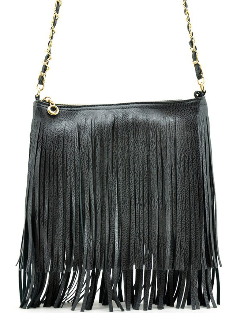 Summer Fringe Mini Handbag Black