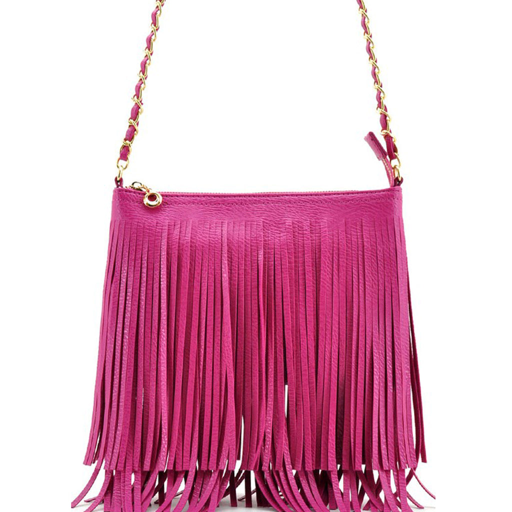 Summer Fringe Mini Handbag Fuchsia