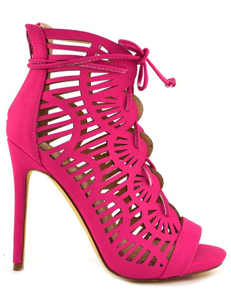 Summer Scalloped Lace-Up Fuschia Heels