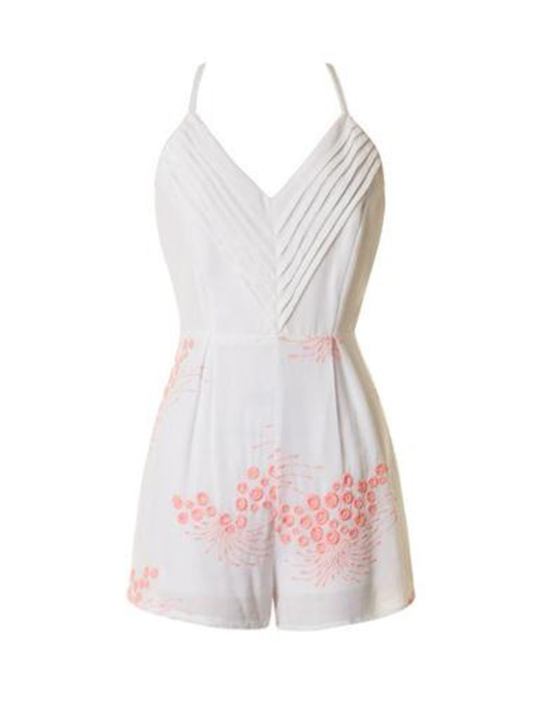 Summer White Sleeveless Romper with Pink Embroidery