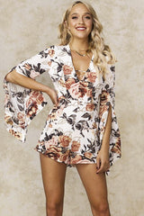 Fashion White Multi-Color Floral Print Gold Detailed Romper