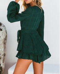 Fashion Forest Green Checkered Ruffle Tie-Up Romper with Bell Sleeve