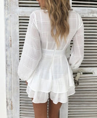 Fashion White Checkered Ruffle Tie-Up Romper with Bell Sleeve