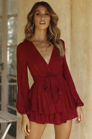 Fashion Wine Checkered Ruffle Tie-Up Romper with Bell Sleeve