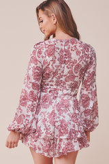 Fashion White Red Floral Print Lace Detailed Ruffle Tie-Up Romper with Bell Sleeve