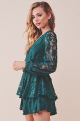 Elegant Forest Green Lace Pom Pom Detailed Ruffle Tie-Up Romper with Bell Sleeve