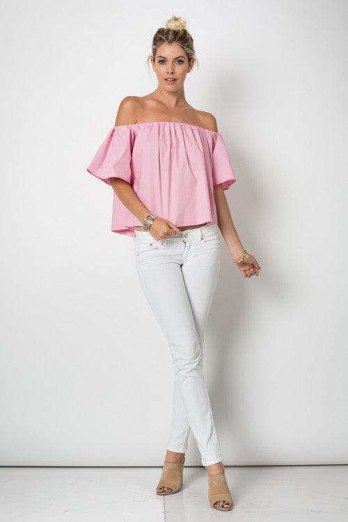 Casual Off Shoulder Pink Top