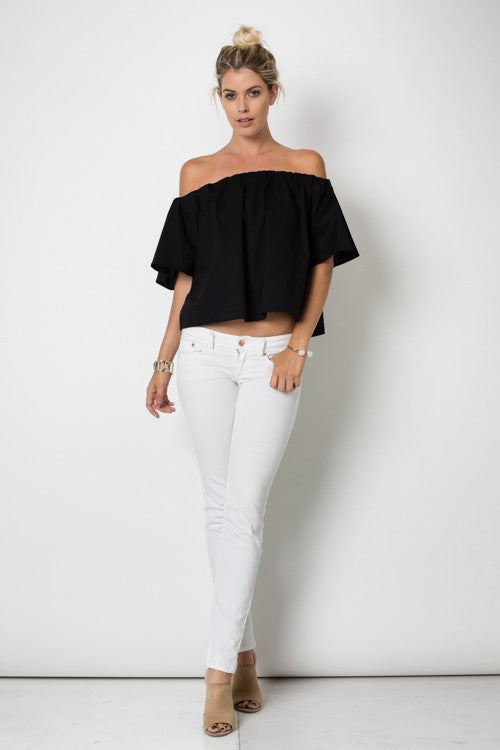 Casual Off Shoulder Black Top