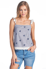 Fashion Marine Embroidery Detailed Flower Tank