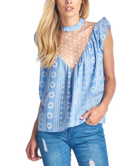 Fashion White Embroidery Mesh Striped Blue Top