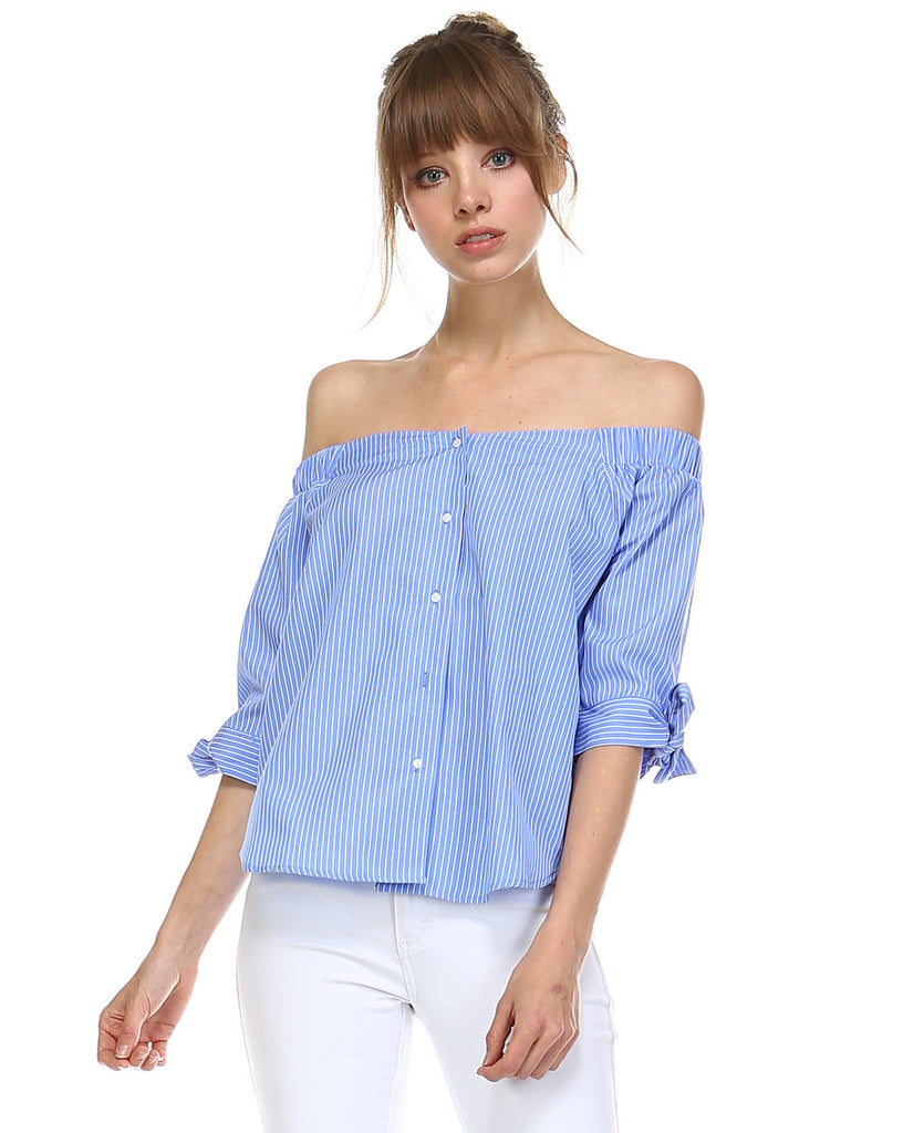 Summer Marine Style Button Down Off Shoulder Top