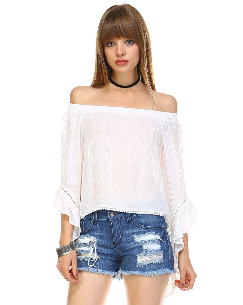 Elegant White Off Shoulder Ruffle Bell Sleeve Top