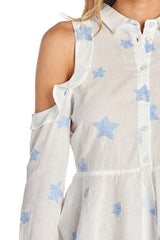 Fashion Cold Shoulder Star Embroidery White Top