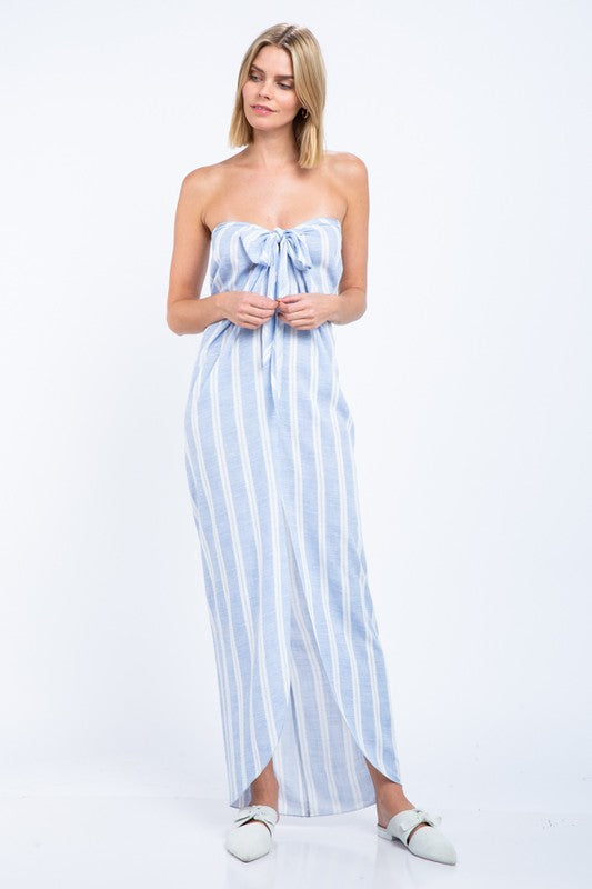 Fashion Off Shoulder Blue Marine Front Tie-Up Maxi Dress